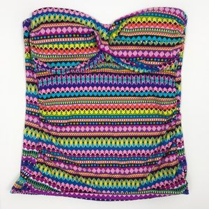 Anne Cole Signature Strapless Colorful Tankini Top